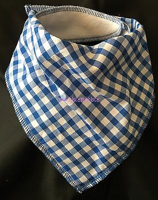 ❤ Toddler Child Dribble Bib Bandana Girl Boy Unisex ❤ Royal Blue Gingham ❤