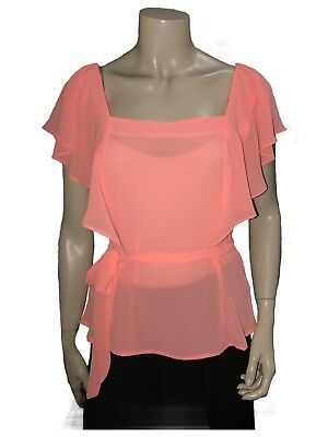 Apricot Blouse Great For Ballroom Dancing - Size 8 - A Grade Condition