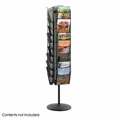 Safeco Onyx 5577BK Rotating Black Mesh Magazine Rack Display Stand Holder Turn