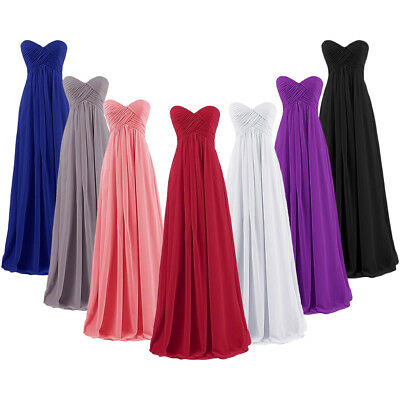 Long Chiffon Bridesmaid Prom Dress Formal Gown Party Cocktail Evening Dresses
