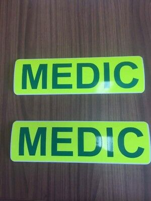 Magnetic Sign MEDIC set green Yellow ambulance vehicle emergency response
