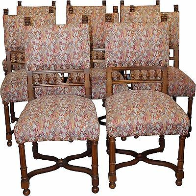 Set of 8 French Henry II Chairs, Restored