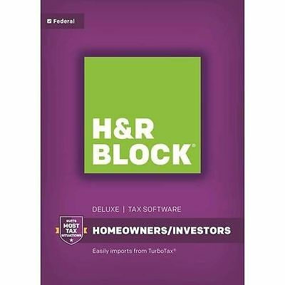 New Sealed H&R BLOCK Tax Software Deluxe Federal ONLY 2016 Homeowners Investors
