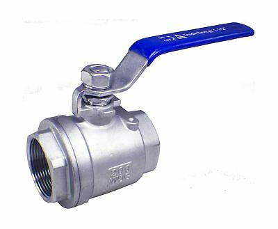 "Duda Energy 2PCBV-WOG200-F150 Full Port Ball Valve 1-1/2"" NPT 2 Piece 304 Sta..."