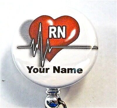 Id Badge Reel Retractable Rn Heart Rhythm Medical Nurse,er,rn,icu,ccu,tech