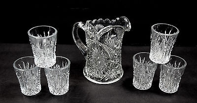 EAPG - Indiana Glass - Oval Star #300 - Childs - Pitcher & 6 Tumblers