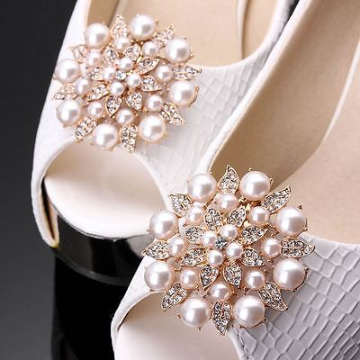"Bridal Gold Plated Faux Pearl Crystal Shoe Clips 2"" / Wedding Shoe Clips"