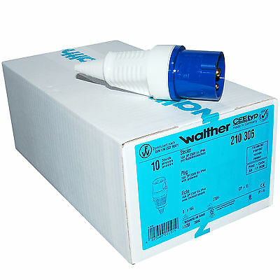 Box of 10 Walther CEE Type 230 volt 16 Amp 3 Pin Plug -  CEE210306