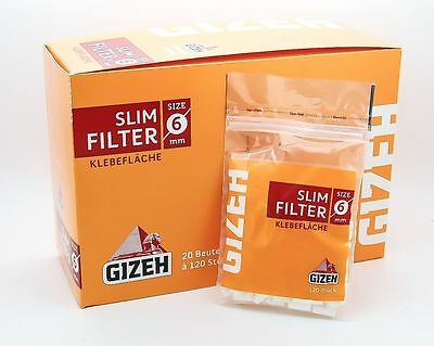 Gizeh Slim Filter 6 mm -  Achtung: 60 Beutel a 120 Filter - AKTIONSPREIS