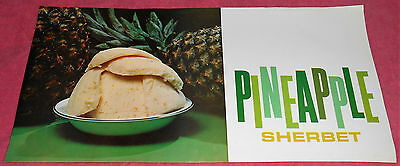 Vintage Pineapple Sherbet Advertising Printed in USA Poster 9 X 18