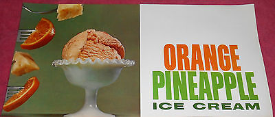Vintage Orange Pineapple Ice Cream Advertising Printed in USA Poster 9 X 18