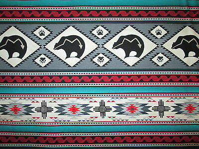 Navajo Native American Totem Bear Border Grey Teal Cotton Fabric BTHY