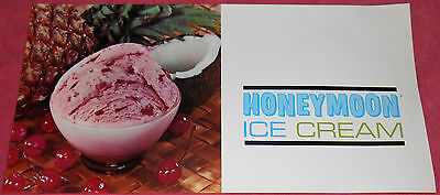 Vintage Honeymoon Ice Cream Advertising Printed in USA Poster 9 X 18
