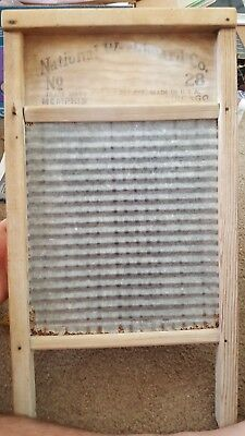 Vintage National Washboard Co Washboard No 28 WASH RITE Wood & Metal