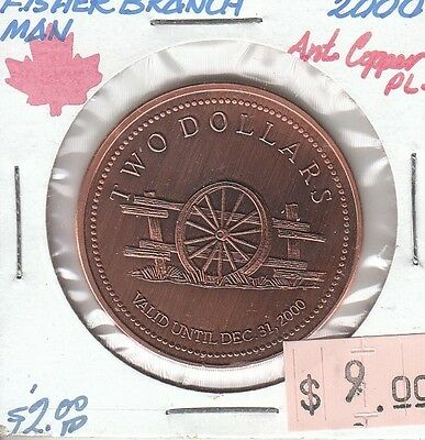 Fisher Branch Manitoba Canada - Trade Dollar - 2000 Antique Copper Plated