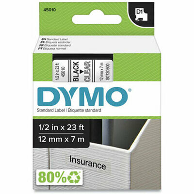 """Dymo DYM45010 LabelManager PC D1 Tape Cartridge, 1/2"""" x 23 ft, Black on Clear"""