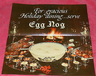 Vintage Eggnog Holiday Dining Advertising Litho Print Poster 16 X 16.5