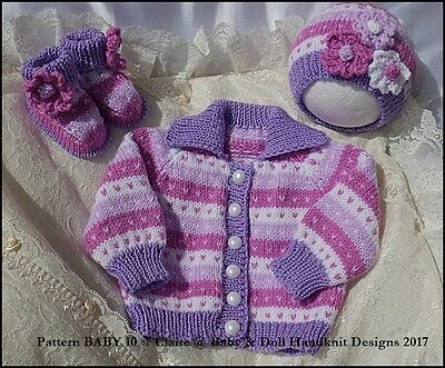 "Babydoll Handknit Designs Jacket Hat And Boots To Fit 20-22"" Doll Size 0-3M"