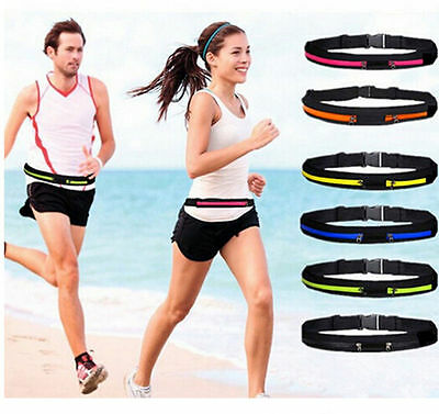New Running Belt Gym Yoga Ultra Silm Waist Bag Zip Pocket for Mobile Keys Money