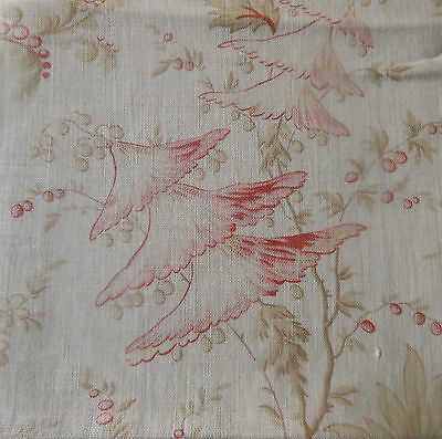 Antique French Softened Indienne Floral Cotton Fabric #1~ Pink Red Soft Olive