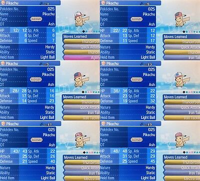 ALL 7! (Or 6**) - 6IV HP Ice Event Cap OT Ash Pikachu's Pokemon Ultra/Sun/Moon
