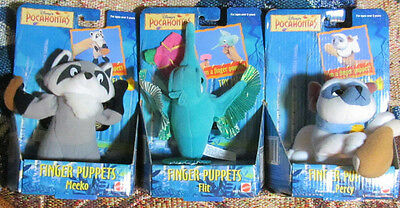 Rare*Original*22-Yr.Old*COMPLETE SET Of 3*Disney POCAHONTAS Plush Finger Puppets