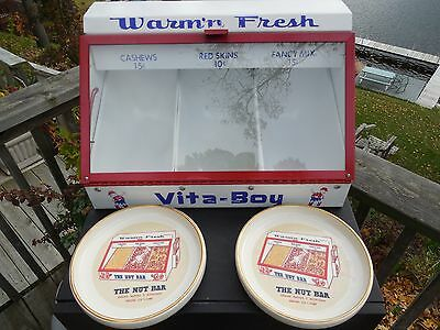 1950's - 60's THE NUT BAR WARM NUT DISPENSER WITH TWO NUT BOWLS GRAND RAPIDS, MI