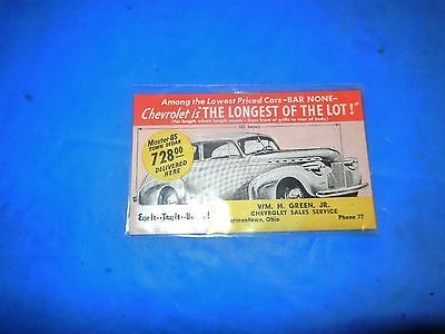 1940 Chevrolet Master 85 Town Sedan Dealer Postcard-W.h.green Jr.germantown Oh!!