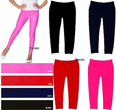 Girl Kids Full-Length Seamless Nylon Blend Plain Solid Color Leggings S/M  L/XL