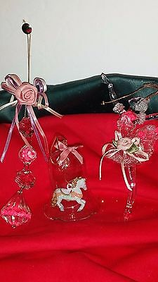 Vintage Lot Of 3 Beautiful Ornaments Ballerina, Bell W Carousel Horse & Jewels