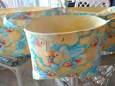 Set of 3 Handmade Yellow Duckie Cotton Fabric Yellow Lined Baskets w/ Handles