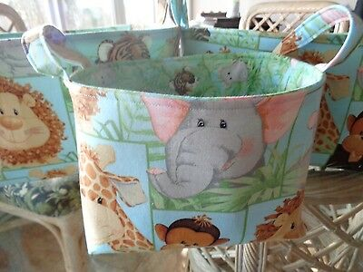 Set of 3 Handmade Baby Jungle Babies Cotton Fabric Lined Baskets w/ Handles