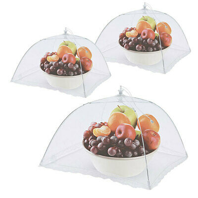 3x Avanti White Square Nylon Net Foldable Food Cover 40cm Fly Screen/Protector