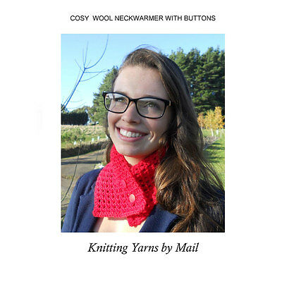 Knitting Kit: Pure Wool Neck Warmer - Aust. Made Yarn, Pattern, Buttons included
