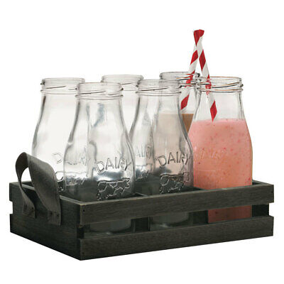 6PC 325ml Avanti Glass Milk Bottle Set w/ Candy Stripe Straws/Wooden Tray Drink