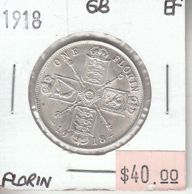 Great Britain 1 Florin 1918 Silver XF Extra Fine