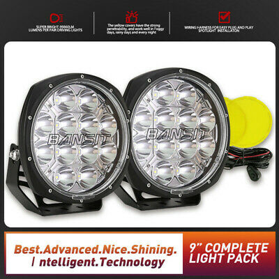 Pair 9inch 99999W CREE Round Black LED Driving Lights Offroad 4X4 SPOT&FLood 12V