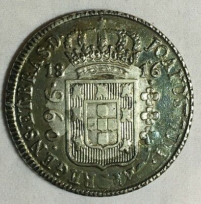 1816R Brazil 960 Reis Silver Coin Over 8 Reales