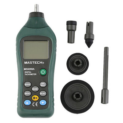 MS6208A Contact Digital Tachometer RPM Meter Rotation Speed 50-19999RPM NA
