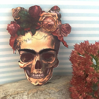 BROOCH Frida Kahlo skull wood Mexican gothic style jewellery Unique wooden pin