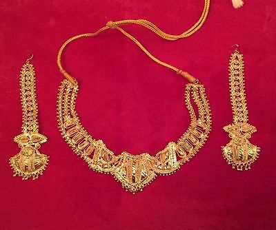 22ct Yellow Gold Plated Earrings And Necklace Set 67g