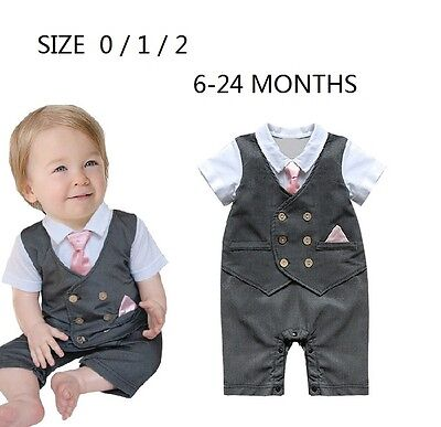 Baby Boy Formal Tuxedo GREY Cotton Romper Pink Tie Outfit size 0/1/2 6-24 months
