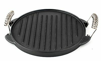 Cast Iron Grill Plate Non-Stick Portable Reversible Griddle Pan BBQ Camping 25cm