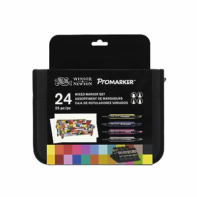 """New in Box Winsor & Newton ProMarker""""Marker Kit - Assorted Colours (Pack of 24)"""