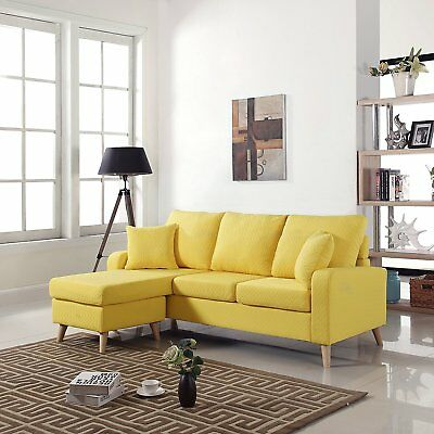 Mid Century Modern Linen Fabric Small Space Sectional Sofa with Reversible
