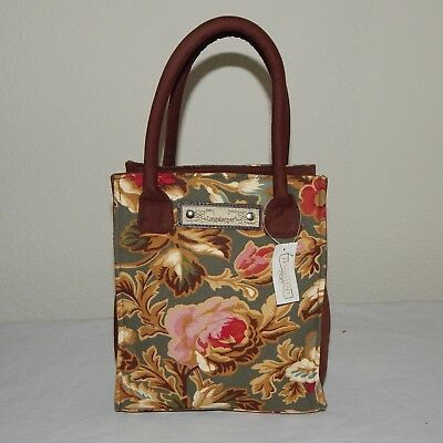 Longaberger Homestead Brown & Green Small Tote Bag w/ Pink Roses