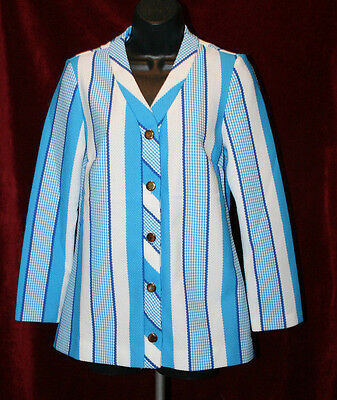 Evan Picone Career Apparel Vintage Womens Blue White Striped Jacket, Sz M/L