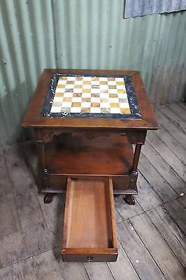 A Vintage Chess Table with Marble Top - Coffee Table