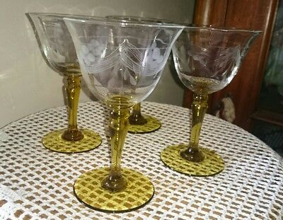 Set of 4 Vintage Art Deco Citrine /Amber Stemmed Port/ Sherry Glasses- Etched