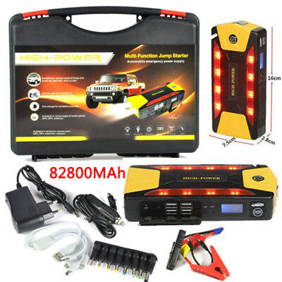 82800mAh 4USB Car Jump Starter Booster Power Bank Battery SOS Emergency Charger